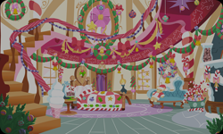 Size: 954x572 | Tagged: safe, artist:mysteriousshine, background, bed, candy, candy cane, christmas, christmas tree, christmas wreath, couch, food, holiday, indoors, no pony, resource, sugarcube corner, teddy bear, tree, wreath