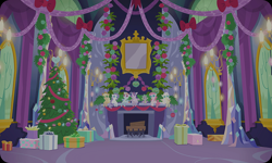 Size: 954x572 | Tagged: safe, artist:mysteriousshine, applejack, fluttershy, pinkie pie, rainbow dash, rarity, spike, twilight sparkle, alicorn, dragon, earth pony, pegasus, pony, unicorn, background, christmas, christmas tree, female, fireplace, hearth's warming doll, holiday, indoors, male, mane seven, mane six, mare, no pony, plushie, present, tree, twilight sparkle (alicorn), twilight's castle, winged spike