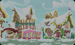 Size: 954x572 | Tagged: safe, artist:mysteriousshine, background, building, christmas wreath, cloud, no pony, ponyville, resource, snow, wreath
