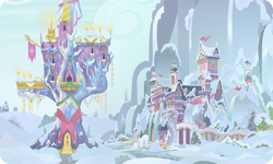 Size: 954x572 | Tagged: safe, artist:mysteriousshine, background, building, christmas, christmas tree, christmas wreath, holiday, mountain, no pony, school of friendship, snow, tree, twilight's castle, wreath