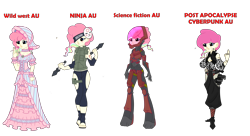 Size: 5226x2846 | Tagged: safe, artist:j053ph-d4n13l, oc, oc only, oc:candy bytes, oc:cheery candy, oc:cheery kawaii, oc:cheery meadows, oc:hard-candy, cyborg, equestria girls, alternate universe, armor, belt, boots, camouflage, choker, clothes, commission, cyberpunk, dress, equestria girls-ified, eye scar, feet, female, flower, gun, handgun, hat, headband, helmet, holster, kunai, mask, multicolored hair, ninja, pants, pistol, rainbow hair, rose, sandals, scar, shoes, simple background, transparent background, vest, wall of tags, weapon