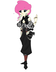 Size: 1700x2187 | Tagged: safe, artist:j053ph-d4n13l, oc, oc only, oc:candy bytes, oc:cheery candy, cyborg, equestria girls, alternate universe, belt, boots, camouflage, clothes, commission, cyberpunk, equestria girls-ified, female, gun, handgun, holster, multicolored hair, pants, pistol, rainbow hair, shoes, simple background, transparent background, vest