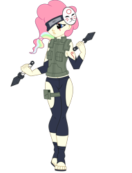 Size: 1700x2222 | Tagged: safe, artist:j053ph-d4n13l, oc, oc only, oc:cheery candy, oc:cheery kawaii, equestria girls, alternate universe, belt, clothes, commission, equestria girls-ified, eye scar, feet, female, headband, kunai, mask, multicolored hair, ninja, pants, pouch, rainbow hair, sandals, scar, simple background, transparent background, vest