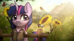 Size: 3232x1816 | Tagged: safe, artist:reterica, twilight sparkle, bird, butterfly, pony, clothes, crossover, female, fence, flower, mare, scenery, smiling, socks, solo, sunflower, sword, the witcher, weapon