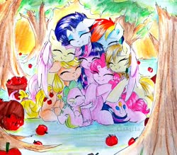 Size: 2648x2322 | Tagged: safe, artist:liaaqila, applejack, fluttershy, pinkie pie, rainbow dash, rarity, spike, twilight sparkle, oc, alicorn, dragon, earth pony, pegasus, pony, unicorn, apple, apple tree, basket, commission, cute, dashabetes, diapinkes, eyes closed, eyeshadow, female, food, group hug, hug, jackabetes, makeup, male, mane seven, mane six, mare, raribetes, self insert, shyabetes, spikabetes, traditional art, tree, twiabetes, twilight sparkle (alicorn), winged spike, winghug