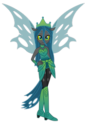 Size: 2525x3492 | Tagged: safe, artist:kaguraria, artist:lhenao, queen chrysalis, changeling, changeling queen, equestria girls, the ending of the end, base used, clothes, crown, dress, equestria girls-ified, female, hand on hip, high heels, high res, jewelry, leggings, looking at you, png, ponied up, regalia, shoes, simple background, skirt, smiling, smiling at you, solo, torn clothes, transparent background, ultimate chrysalis