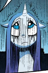 Size: 322x483 | Tagged: safe, artist:andypriceart, rarity, pony, unicorn, friends forever, idw, spoiler:comic, spoiler:comicff8, comic panel, cropped, female, makeup, rain, running makeup, solo, wet, wet mane, wet mane rarity