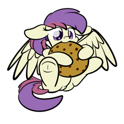 Size: 2160x2170 | Tagged: safe, artist:php142, part of a set, oc, oc only, oc:evensong, pegasus, cookie, female, food, giant cookie, nom, ponytail, simple background, solo, spread wings, transparent background, underhoof, wings