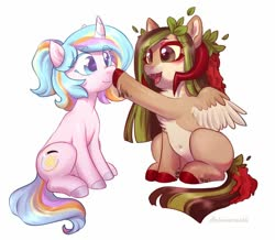 Size: 1000x870 | Tagged: safe, artist:helemaranth, oc, oc only, oc:helemaranth, oc:oofy colorful, pegasus, pony, unicorn, boop, cheek fluff, chest fluff, cute, cute little fangs, duo, fangs, female, horns, mare, ocbetes, pale belly, simple background, sitting, white background
