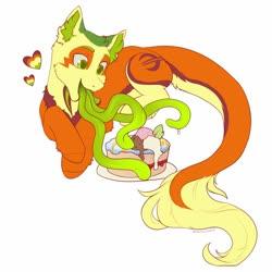 Size: 1000x1000 | Tagged: safe, artist:helemaranth, oc, oc only, oc:non toxic, monster pony, original species, pony, tatzlpony, cake, food, solo