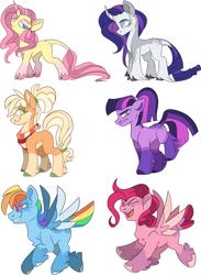 Size: 2463x3356 | Tagged: safe, artist:taaffeiite, derpibooru exclusive, applejack, fluttershy, pinkie pie, rainbow dash, rarity, twilight sparkle, earth pony, pegasus, pony, unicorn, leak, spoiler:g5, alternate color palette, alternate hairstyle, alternate universe, applejack (g5), cloven hooves, colored wings, colored wingtips, curved horn, female, fluttershy (g5), flying, g5, gradient hooves, grumpy, horn, leg fluff, leonine tail, mane six, mane six (g5), mare, missing cutie mark, open mouth, pinkie pie (g5), ponytail, race swap, rainbow dash (g5), raised leg, rarity (g5), redraw, simple background, smiling, snooty, spoiler, tail feathers, tail fluff, transparent background, twilight sparkle (g5), unshorn fetlocks