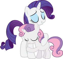 Size: 4000x3780 | Tagged: safe, artist:glitchking123, rarity, sweetie belle, pony, unicorn, .ai available, .svg available, belle sisters, cute, diasweetes, eyes closed, female, filly, hug, mare, raribetes, siblings, simple background, sisters, smiling, transparent background, vector