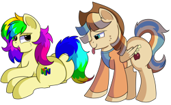 Size: 1280x786 | Tagged: safe, artist:rainbowtashie, braeburn, wind waker (character), oc, oc:rainbow tashie, oc:spicy cider, earth pony, pegasus, pony, butt, clothes, commissioner:bigonionbean, cowboy hat, cutie mark, dawwww, fusion, fusion:spicy cider, hat, in love, jumpsuit, large ass, love, plot, romantic, simple background, stetson, sultry pose, tongue out, transparent background, writer:bigonionbean