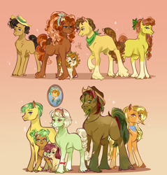 Size: 2000x2092 | Tagged: safe, artist:bunnari, apple bloom, apple brown betty, apple cobbler, applejack, big macintosh, bright mac, grand pear, granny smith, mosely orange, oak nut, pear butter, uncle orange, oc, oc:alcahazar water, oc:barrel cactus, oc:cinnamon pear, oc:sweet spice, pony, apple family, apple family member, baby, baby pony, pear family, young granny smith, younger
