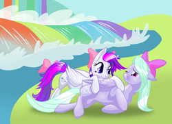 Size: 3000x2167 | Tagged: safe, artist:varaann, flitter, oc, oc:gale force, earth pony, pegasus, pony, canon x oc, female, lesbian, mare, nibbling, rainbow waterfall, shipping