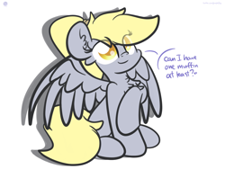 Size: 2560x1920 | Tagged: safe, artist:php142, derpy hooves, pegasus, pony, alternate hairstyle, chest fluff, colored pupils, cute, derpabetes, dialogue, female, mare, muffin, ponytail, sitting, solo, speech bubble, spread wings, text, that pony sure does love muffins, wings