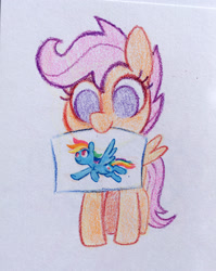 Size: 1200x1505 | Tagged: safe, artist:dawnfire, rainbow dash, scootaloo, pegasus, pony, colored pencil drawing, cute, cutealoo, drawing, female, filly, mouth hold, no pupils, simple background, solo, traditional art, white background