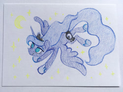 Size: 1500x1125 | Tagged: safe, artist:dawnfire, princess luna, alicorn, pony, crayon, crayon drawing, flying, jewelry, moon, regalia, simple background, solo, stars, traditional art, white background