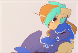 Size: 1518x1032   Tagged: safe, artist:little-sketches, princess luna, oc, oc:demi, oc:demiurgic theory, alicorn, unicorn, blushing, canon x oc, couple, cuddling, cute, daaaaaaaaaaaw, duo, female, floppy ears, fluffy, happy, hnnng, hug, love, male, precious, shipping, simple background, size difference, smiling, snuggling, straight, sweet dreams fuel, weapons-grade cute, wholesome