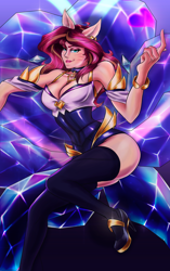 Size: 1260x2010   Tagged: safe, artist:mandy1412, sunset shimmer, human, ahri, beckoning, clothes, cosplay, costume, crossover, female, humanized, k/da, league of legends, looking at you, nyanset shimmer, solo, video game crossover, whisker markings
