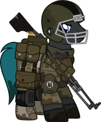 Size: 1280x1553   Tagged: safe, artist:n0kkun, oc, oc only, oc:steel burst, earth pony, pony, fallout equestria, armor, bag, belt, boots, bullet, camouflage, clothes, crossover, dirt, fallout, football helmet, gloves, gun, handgun, helmet, knee pads, machine gun, male, mud, pants, pistol, pouch, shirt, shoes, simple background, solo, stallion, transparent background, weapon