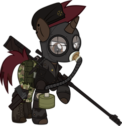 Size: 1280x1317 | Tagged: safe, artist:n0kkun, oc, oc only, oc:thunder shot, pony, unicorn, fallout equestria, anti-materiel rifle, belt, beret, boots, camouflage, clothes, crossover, ear piercing, earring, fallout, female, fingerless gloves, gas mask, gloves, gun, handgun, hat, jacket, jewelry, knife, leather jacket, mare, mask, pants, piercing, pistol, pouch, rifle, shirt, shoes, simple background, sniper, sniper rifle, solo, transparent background, weapon