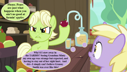 Size: 1280x720 | Tagged: safe, edit, edited screencap, screencap, dinky hooves, granny smith, the perfect pear, apple, apple stand, doctor who, food, implied minty, speech bubble, talking, thought bubble, young granny smith, younger