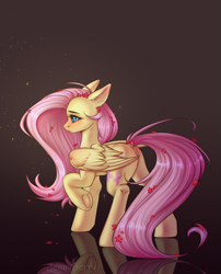 Size: 1731x2140   Tagged: safe, artist:jennyberry, fluttershy, pegasus, pony, blushing, brown background, butt, female, fluffy, frog (hoof), hoofbutt, mare, plot, raised hoof, rear view, reflection, simple background, solo, underhoof
