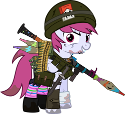 Size: 1280x1170 | Tagged: safe, artist:n0kkun, oc, oc only, oc:sky bomb, pegasus, pony, fallout equestria, ammo belt, ammo can, bandage, bandolier, bayonet, boots, bullet, cigarette, cigarette pack, clothes, crossover, dirty, eye scar, fallout, female, grenade, gun, helmet, knife, lip piercing, mare, marlboro, pants, piercing, pouch, rocket launcher, rpg-7, scar, shoes, shorts, simple background, smiley face, smiling, socks, solo, striped socks, tanktop, torn clothes, transparent background, vest, weapon