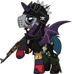 Size: 1280x1307 | Tagged: safe, artist:n0kkun, oc, oc only, oc:bullet storm (ice1517), alicorn, bat pony, bat pony alicorn, pony, fallout equestria, ak-47, alicorn oc, assault rifle, bat pony oc, bat wings, belt, boots, camouflage, clothes, crossover, dog tags, fallout, fingerless gloves, gloves, goggles, gun, helmet, hockey mask, horn, jacket, knife, leather jacket, male, mask, pants, raised hoof, rifle, sawed off shotgun, shirt, shoes, shotgun, simple background, solo, stallion, t-shirt, tape, torn clothes, transparent background, weapon, wings