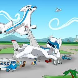 Size: 600x600 | Tagged: safe, artist:kushina13, original species, plane pony, pony, boeing 727, bus, luggage, pan am, plane, presenting