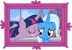 Size: 6250x4351 | Tagged: safe, artist:ejlightning007arts, artist:themexicanpunisher, edit, trixie, twilight sparkle, bust, female, kiss on the cheek, kissing, lesbian, portrait, shipping, twixie