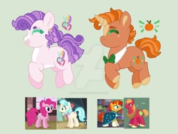 Size: 1600x1200 | Tagged: safe, artist:kyper-space, artist:strawberry-spritz, big macintosh, coco pommel, pinkie pie, sunburst, oc, pony, base used, deviantart watermark, magical gay spawn, magical lesbian spawn, obtrusive watermark, offspring, parent:big macintosh, parent:coco pommel, parent:pinkie pie, parent:sunburst, parents:cocopie, parents:macburst, watermark
