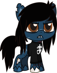 Size: 728x920 | Tagged: safe, artist:lightningbolt, derpibooru exclusive, pony, undead, zombie, zombie pony, my little pony: pony life, .svg available, angry, bags under eyes, bone, bring me the horizon, chipped tooth, clothes, colored pupils, colored sclera, fangs, frown, glasgow smile, lip piercing, oliver sykes, piercing, ponified, scar, shirt, simple background, solo, stitches, svg, tattoo, torn ear, transparent background, unshorn fetlocks, vector