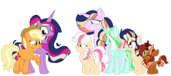Size: 1024x459 | Tagged: safe, artist:peanutthechub, applejack, twilight sparkle, oc, oc:apple granola, oc:gala apple, oc:peachy dreams, oc:prince pluto, oc:star fruit, alicorn, changedling, changeling, earth pony, kirin, unicorn, adopted offspring, changedling oc, changeling oc, family, female, filly, freckles, glasses, kirin oc, lesbian, magical lesbian spawn, mare, offspring, one eye closed, parent:applejack, parent:twilight sparkle, parents:twijack, shipping, simple background, transparent background, twijack, twilight sparkle (alicorn), ultimate twilight, wink