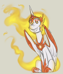 Size: 850x1000 | Tagged: safe, artist:sinrar, daybreaker, alicorn, colored sketch, fangs, looking at you, mane of fire, sharp teeth, simple background, sitting, sketch, smiling, solo, tan background, teeth