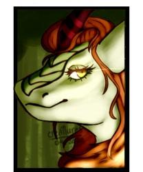 Size: 704x845   Tagged: safe, alternate version, artist:creatturesz, autumn blaze, kirin, bust, female, smiling, solo