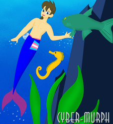 Size: 1552x1708 | Tagged: safe, artist:cyber-murph, oc, oc:sooperaaron, fish, mermaid, merman, seahorse, clothes, commission, male, partial nudity, pride, signature, topless, trans flag, underwater