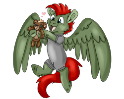 Size: 2500x2000 | Tagged: safe, artist:euspuche, oc, oc only, oc:jet lag, pegasus, happy, playing, plushie, simple background, solo, teddy bear, transparent background