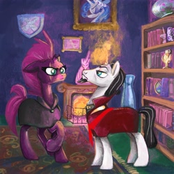 Size: 2048x2048 | Tagged: safe, artist:pfeffaroo, chancellor neighsay, princess platinum, tempest shadow, pony, unicorn, book, bookshelf, bust, cloak, clothes, fireplace, frame, globe, glowing horn, horn, portrait, rug, shipping, statue, vase