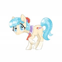 Size: 2048x2048 | Tagged: safe, artist:pfeffaroo, coco pommel, earth pony, pony, clothes, hair accessory, necktie, socks, solo