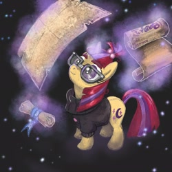 Size: 2048x2048 | Tagged: safe, artist:pfeffaroo, moondancer, pony, unicorn, clothes, female, glasses, glowing horn, horn, magic, magic aura, mare, paper, scroll, solo, sweater, telekinesis