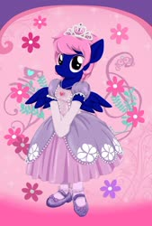 Size: 1600x2371 | Tagged: safe, artist:avchonline, oc, oc only, oc:threadwing, anthro, pegasus, canterlot royal ballet academy, clothes, crossdressing, disney, disney princess, dress, gloves, jewelry, mary janes, necklace, pantyhose, pegasus oc, princess, princess dress, princess shoes, princess sofia, regalia, shoes, tiara, wings