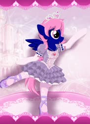 Size: 1600x2182 | Tagged: safe, artist:avchonline, oc, oc:threadwing, pegasus, ballerina, ballet, canterlot royal ballet academy, clothes, crossdressing, dancing, dress, gloves, jewelry, mary janes, necklace, pantyhose, pegasus oc, princess shoes, princess sofia, regalia, shoes, tiara, tutu, wings