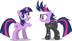 Size: 1178x678 | Tagged: safe, artist:valadrem, twilight sparkle, pony, unicorn, it's about time, bandana, clothes, eyepatch, female, future twilight, mare, messy mane, open mouth, raised hoof, scar, self ponidox, simple background, smiling, time paradox, torn clothes, transparent background, unicorn twilight, vector