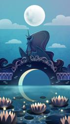 Size: 1200x2100   Tagged: safe, artist:28gooddays, princess luna, alicorn, pony, bridge, cloud, crescent moon, female, floppy ears, full moon, lilypad, mare, moon, night, profile, reflection, sky, solo