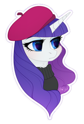 Size: 900x1330 | Tagged: safe, artist:vird-gi, rarity, pony, beatnik rarity, beret, bust, cheek fluff, clothes, cute, female, hat, mare, neck fluff, portrait, raribetes, simple background, solo, sweater, transparent background