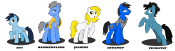 Size: 2046x602 | Tagged: safe, artist:wolfjedisamuel, oc, oc only, oc:addemup, oc:ficksitup, oc:hammerplank, oc:jasmine, oc:nut, earth pony, pony, clothes, cutie mark, digital art, female, foal, glasses, hat, male, mare, shirt, stallion, tail, vest