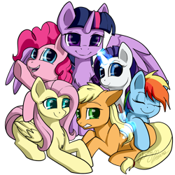 Size: 1280x1280 | Tagged: safe, artist:gleamydreams, applejack, fluttershy, pinkie pie, rainbow dash, rarity, twilight sparkle, alicorn, earth pony, pegasus, pony, unicorn, brush, chest fluff, cute, ear fluff, female, glowing horn, horn, looking at you, loose hair, magic, mane six, mare, open mouth, prone, signature, simple background, telekinesis, transparent background, twilight sparkle (alicorn)