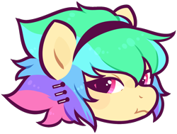 Size: 1484x1123 | Tagged: safe, artist:mvnchies, oc, oc only, earth pony, pony, bust, earth pony oc, frown, headband, multicolored hair, rainbow hair, simple background, solo, transparent background